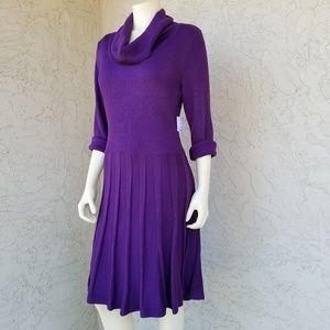 Liz Claiborne Rib Knit Cowl Neck Sweater Dress